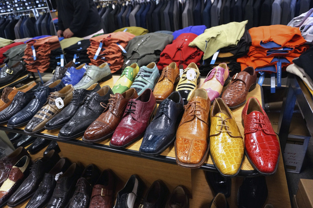 Men's dress shoes are displayed at Mastroianni Fashions' 1701 S. Decatur Blvd. store. (Diane Taylor/Special to View)