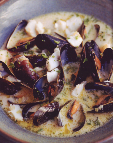 "Quebecois mussel chowder with cod and cider from ""Roast Figs, Sugar Snow: Food to Warm the Soul."" (Courtesy)"