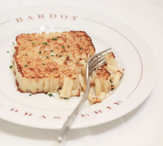 Macaroni gratinee is a side dish served at Bardot Brasserie. (Courtesy)