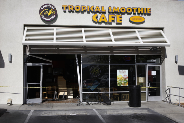 tropical smoothie cafe 6350 west charleston blvd is seen after a car crashed - Tropical Cafe 2015