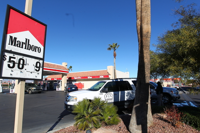 Las Vegas police are investigating the scene where a man's body was found about 6 a.m. Wednesday, Jan. 14, 2015, near the intersection of West Tropicana Avenue and South Jones Boulevard. (Chase St ...
