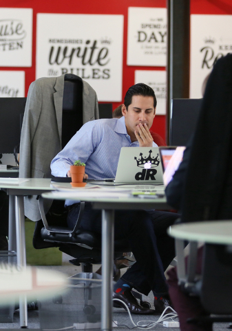 Eric Petersen, vice president of digital strategy, works at Digital Royalty Tuesday, Jan. 20, 2015, in Las Vegas. Digital Royalty, located at 124 South 6th Street, Suite 280, is a social media age ...
