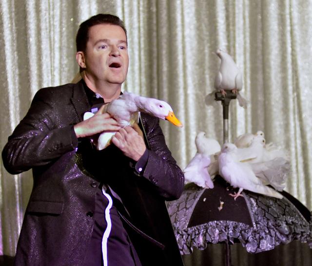 "Magician Dirk Arthur performs in ""Dirk Arthur's Wild Illusions"" at the Riviera hotel-casino at 2901 Las Vegas Blvd., South, in Las Vegas on Saturday, Dec. 6, 2014. (Bill Hughe ..."