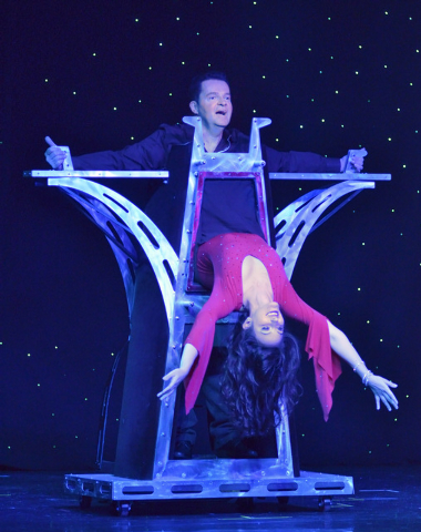 "Magician Dirk Arthur, top, performs with dancer Destiny Johnson in ""Dirk Arthur's Wild Illusions"" at the Riviera hotel-casino at 2901 Las Vegas Blvd., South, in Las Vegas on S ..."