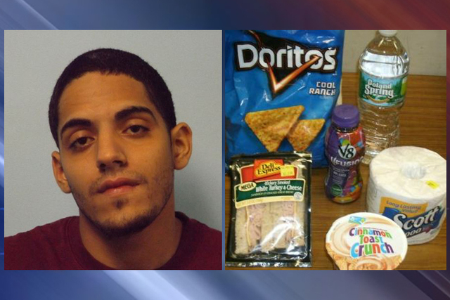 Police say Steven Tavarez stole a bag of Cool Ranch Doritos, a turkey and cheese sandwich, a V8 beverage, a water and a bowl of Cinnamon Toast Crunch from a Massachusetts convenience store. (Court ...