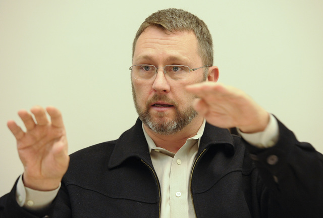 Brent Husson, president of Nevada Succeeds!, speaks about education reform to the Review-Journal editorial board on Tuesday, Jan. 20, 2015. Husson is a member of the CCSD Superintendent's Executiv ...