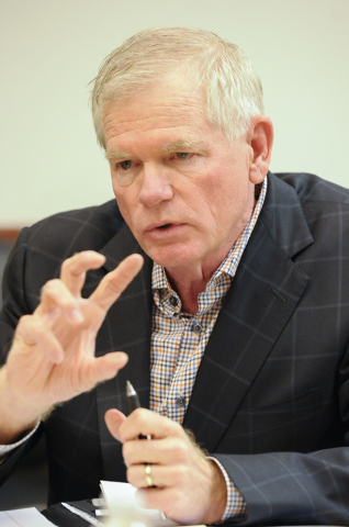 Glenn C. Christenson, co-chair of education council of the Las Vegas Global Economic Alliance, speaks about education reform to the Review-Journal editorial board on Tuesday, Jan. 20, 2015. Christ ...