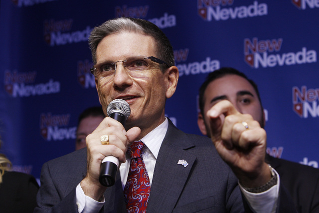 Congressman Joe Heck, R-Nev., gives a speech during the Nevada Republican Party election night party Tuesday, Nov. 4, 2014 at Red Rock Station. (Sam Morris/Las Vegas Review-Journal)