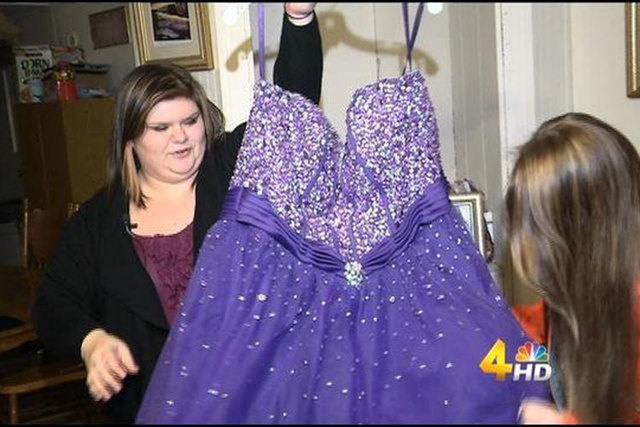 Kristen Layne, left, was bullied by Facebook comments after she posted a photo of her junior prom dress she was selling on a Facebook group. (WSMV/CNN)