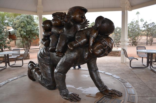 "A statue in Scottsdale McCormick-Stillman Railroad Park honors ""Family Circus"" cartoon creator Bil Keane. (Ginger Meurer/Las Vegas Review-Journal)"