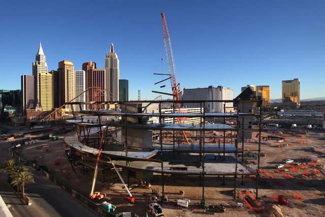 Construction continues on the new Las Vegas Arena Thursday, Jan. 15, 2015 at New York New York. (Sam Morris/Las Vegas Review-Journal)