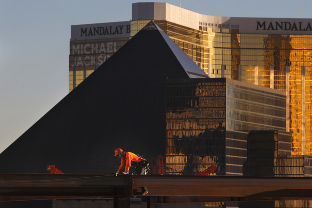 A construction worker is seen as work continues on the new Las Vegas Arena Thursday, Jan. 15, 2015 at New York New York. (Sam Morris/Las Vegas Review-Journal)