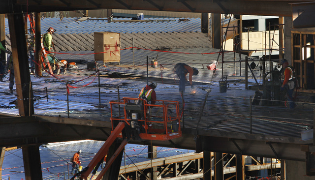 Construction is seen on the new Las Vegas Arena Thursday, Jan. 15, 2015 at New York New York. (Sam Morris/Las Vegas Review-Journal)