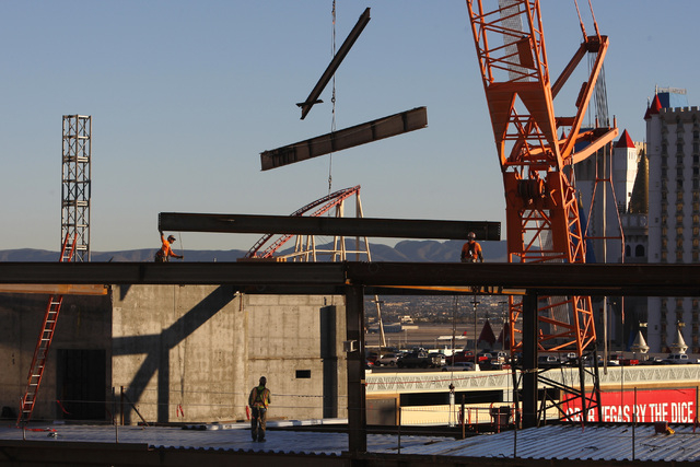 Steel is moved into place during construction on the new Las Vegas Arena Thursday, Jan. 15, 2015 at New York New York. (Sam Morris/Las Vegas Review-Journal)