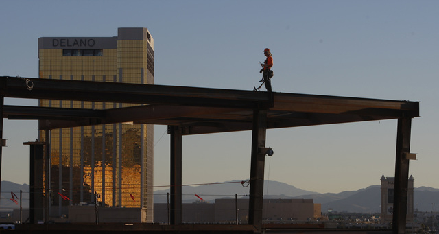 A worker is seen as construction continues on the new Las Vegas Arena Thursday, Jan. 15, 2015 at New York New York. (Sam Morris/Las Vegas Review-Journal)