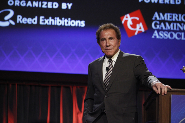 Keynote speaker Steve Wynn, CEO of Wynn Resorts, speaks during a seminar at the Global Gaming Expo at Sands Expo and Convention Center in Las Vegas Tuesday, Sept. 30, 2014. On Tuesday, Jan. 20, 20 ...
