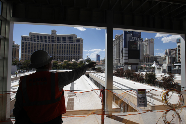 Michael Diebel, project manager with the Penta Building Group, gives a tour of the construction site of the future Grand Bazaar Shops at Bally's casino-hotel in Las Vegas Thursday, Sept. 4, 2014.  ...