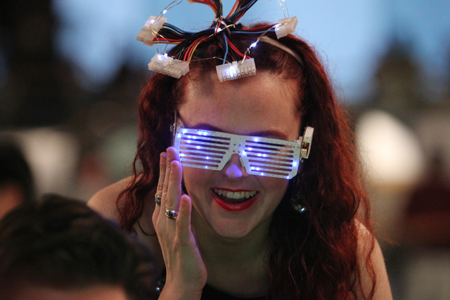 Tenaya Hurst wears a pair of glasses she designed during the 2015 AT&T Hackathon competition at the Palms casino-hotel in Las Vegas Sunday, Jan. 4, 2015. (Erik Verduzco/Las Vegas Review-Journal)