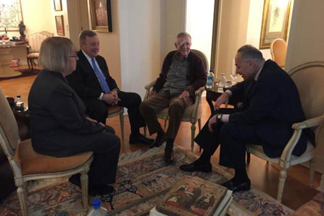 Sen. Harry Reid, D-Nev., second from right, meets with the Senate Democratic leadership -- Sen. Patty Murray of Washington, left, Sen. Dick Durbin of Illinois and Sen. Chuck Schumer of New York -- ...