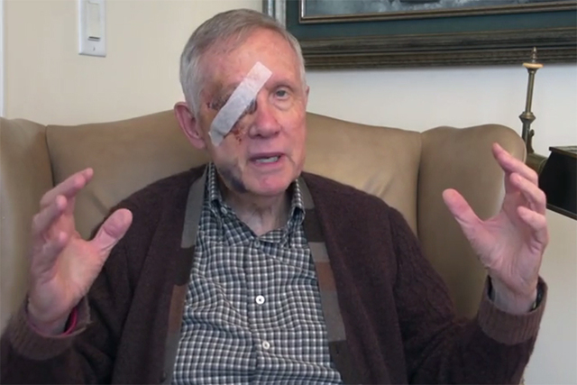 Sen. Harry Reid will undergo needed surgery on his right eye that was seriously injured in a New Year's Day accident at his Henderson home, an aide said Wednesday, Jan. 21, 2015. (Screengrab/Nev ...