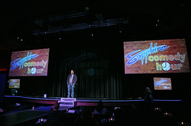Comedian Philip Peredo (cq) hosts and performs during the Sapphire Comedy Hour at Sapphire Showroom Saturday, Jan. 3, 2015, in Las Vegas. Peredo, who is the owner of TickleMe Entertainment, is sla ...