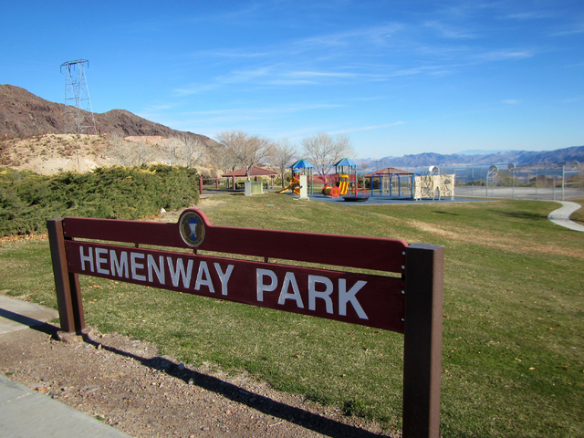(Henry Brean/Las Vegas Review-Journal) A sign greets visitors at Hemenway Park on Thursday. The Boulder City park looks out over Hemenway Valley, Hemenway Wash, Hemenway Road and Hemenway Harbor a ...