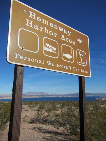 (Henry Brean/Las Vegas Review-Journal) A sign directs visitors to the busiest boat harbor at Lake Mead National Recreation Area on Thursday. The Hemenway name appears on maps and on signs around L ...