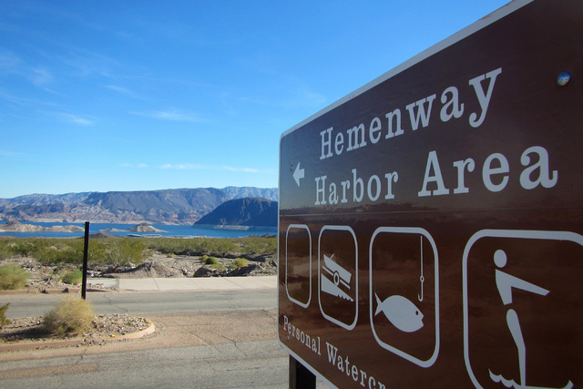 A sign directs visitors to the busiest boat harbor at Lake Mead National Recreation Area on Thursday. The Hemenway name appears on maps and on signs around Lake Mead and Boulder City, but historia ...