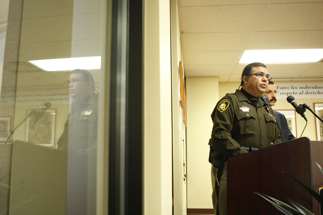 David Cinega, director of Hispanic Citizens Academy for the Las Vegas Metropolitan Police Department, speaks during a press conference to announce the 16th Hispanic Citizens Academy at the Consula ...