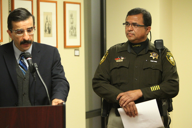 Julian Adem, left, head consul of the Consulate of Mexico in Las Vegas, with David Cinega, director of Hispanic Citizens Academy for the Las Vegas Metropolitan Police Department, speaks during a p ...