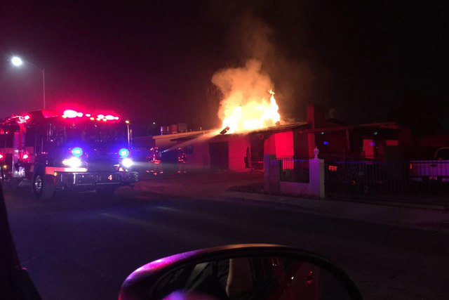 A fire in an attic early Tuesday, Jan. 20, 2015, caused $50,000 in damages to a vacant house in east Las Vegas. (Courtesy/Las Vegas Fire Department)