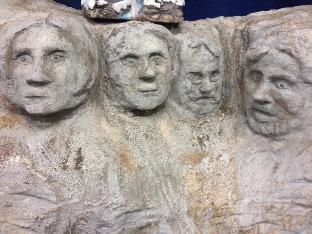 A replica of Mount Rushmore made out of Styrofoam by art teacher Larry McKnight is seen at Somerset Academy of Las Vegas, 7038 Sky Pointe Drive, Friday, Dec. 19, 2014. (Sandy Lopez/View)
