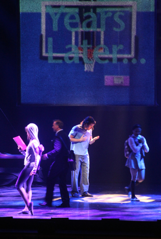 Ace Young, second from right, performs as Joseph in touring version of Ҋoseph and the Amazing Technicolor DreamcoatӠat The Smith Center in Las Vegas on Tuesday, Jan. 20, 2014. The Andr ...