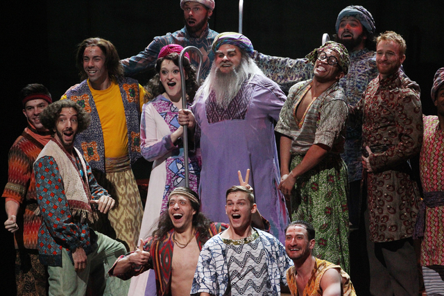 William Thomas Evans, center, as Jacob, Tricia Tanguy as his wife, and ensemble members as their sons, perform in the touring version of Ҋoseph and the Amazing Technicolor DreamcoatӠat ...