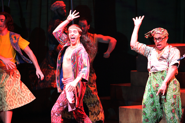 Some of Joseph's brothers perform in the touring version of Ҋoseph and the Amazing Technicolor DreamcoatӠat The Smith Center in Las Vegas on Tuesday, Jan. 20, 2014. The Andrew Lloyd We ...