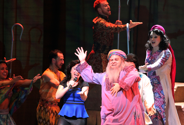 William Thomas Evans, front, as Jacob, performs in the touring version of Ҋoseph and the Amazing Technicolor DreamcoatӠat The Smith Center in Las Vegas on Tuesday, Jan. 20, 2014. The A ...