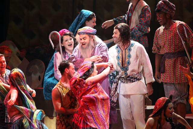 William Thomas Evans, center, as Jacob, Tricia Tanguy as his wife, center left, and Ace Young as Joseph, center right, perform in the touring version of Ҋoseph and the Amazing Technicolor Dr ...