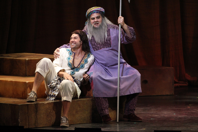 William Thomas Evans, as Jacob, right, and Ace Young as Joseph, center right, perform in the touring version of Ҋoseph and the Amazing Technicolor DreamcoatӠat The Smith Center in Las  ...