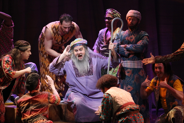 William Thomas Evans, center, as Jacob, performs in the touring version of Ҋoseph and the Amazing Technicolor DreamcoatӠat The Smith Center in Las Vegas on Tuesday, Jan. 20, 2014. The  ...