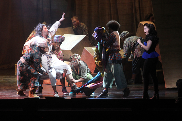 Joseph's brothers kidnap Joseph, second from left, played by Ace Young, as Narator Diana DeGarmo sings in the touring version of Ҋoseph and the Amazing Technicolor DreamcoatӠat The Smi ...