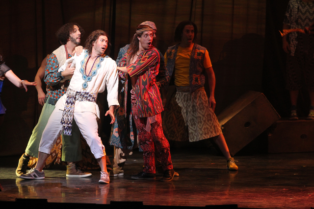 Joseph's brothers kidnap Joseph, second from left, played by Ace Young, in the touring version of Ҋoseph and the Amazing Technicolor DreamcoatӠat The Smith Center in Las Vegas on Tuesd ...