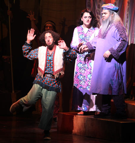 Brian Golub as Reuben, left, William Thomas Evans, as Jacob and as Tricia Tanguy as Jacob's wife perform in the touring version of Ҋoseph and the Amazing Technicolor DreamcoatӠat The S ...