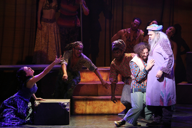 Brian Golub as Reuben, second from left, and William Thomas Evans, as Jacob perform in the touring version of Ҋoseph and the Amazing Technicolor DreamcoatӠat The Smith Center in Las Ve ...