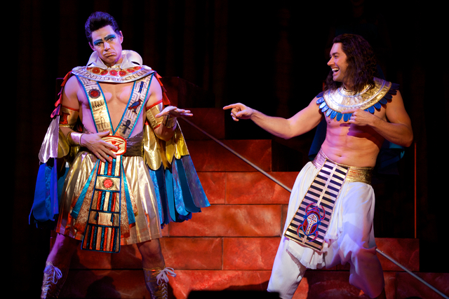 """Pharaoh (Ryan Williams) and Joseph (Ace Young) perform """"Stone the Crows"""" in the touring production of """"Joseph and the Amazing Technicolor Dreamcoat,"""" opening Tuesday at The Smith Center. Photo cre ..."""