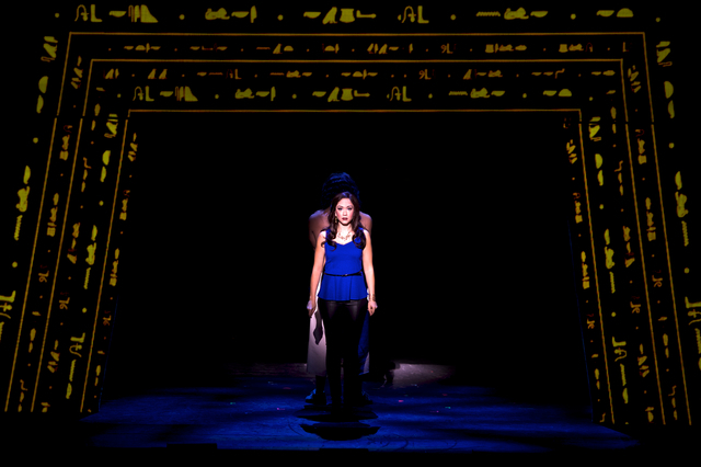 """The Narrator (Diana DeGarmo) sings """"Poor, Poor Joseph"""" in the touring production of """"Joseph and the Amazing Technicolor Dreamcoat,"""" which opens an eight-performance run Tuesday at The Smith Ce ..."""