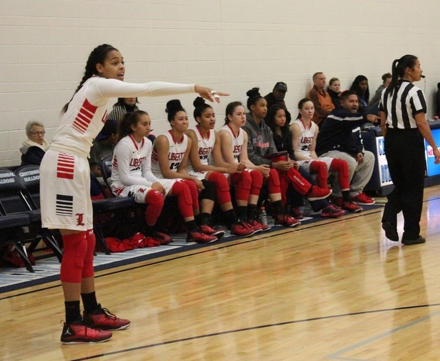Liberty sophomore Jaelyn Royal successfully recovered from Chiari Malformation decompression surgery, and is now one of the key reserves for the Patriots' girls basketball team. (W.G. Ramirez/La ...