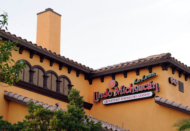 A general view of the exterior of Lindo Michoacan La Loma restaurant in Henderson is seen on Sunday, March 30, 2014. (David Becker/Las Vegas Review-Journal)