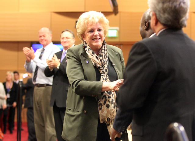 Las Vegas Mayor Carolyn Goodman greets members of the City Council before delivering her State of the City speech at City Hall Thursday, Jan. 8, 2015. (K.M. Cannon/Las Vegas Review-Journal)