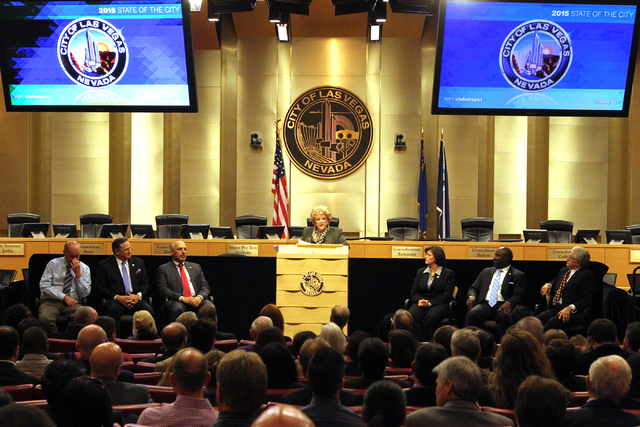Las Vegas Mayor Carolyn Goodman, at podium, delivers her State of the City speech at City Hall Thursday, Jan. 8, 2015. Seated, from left, are Councilman Bob Beers, Councilman Steven D. Ross, Mayor ...