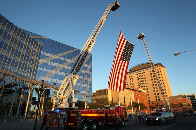 An American flag flies before Las Vegas Mayor Carolyn Goodman delivers her State of the City speech at City Hall Thursday, Jan. 8, 2015. (K.M. Cannon/Las Vegas Review-Journal)